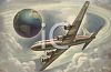 Vintage Style-Commercial Jet Flying Around the Earth clipart