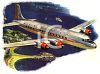 Vintage Style-Commerical Plane in the Air clipart