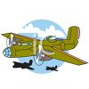 Vintage Army Plane clipart