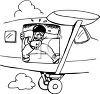 Black and White Cartoon of a Scared Man Jumping from a Plane clipart