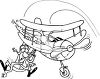 Black and White Cartoon of a Pilot Falling Out of His Plane clipart
