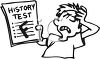 Black and White Cartoon of a Boy with an F on His History Test clipart