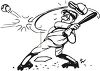 Black and White Cartoon of Boy Hitting a Baseball clipart