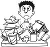 Black and White Cartoon of a Boy Cramming for a Test clipart