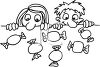 Black and White Cartoon of Two Kids Staring at Candy clipart