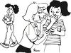 Black and White Cartoon of Two Girls Gossiping About Another Girl clipart