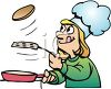 Cartoon of a Girl Making Pancakes clipart