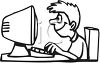 Black and White Cartoon of a Boy Typing on a Computer clipart