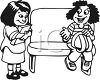 Black and White Cartoon of a Girl Sharing Her Seat on the Bus clipart