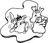 Black and White Cartoon of Bacteria Fighting with Germs clipart