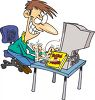 Guy Hacking a Computer clipart