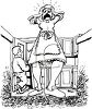 Black and White Cartoon of a Woman Screaming in a Dirty Kitchen clipart