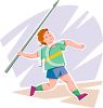 Boy Throwing a Javelin at a Track and Field Event clipart