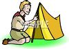 Boy Scout Putting Up a Pup Tent clipart