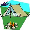Simple Tent on the Bank of a Lake clipart