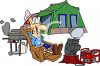 Man Camping with All the Comforts of Home clipart