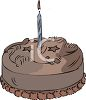 Chocolate Birthday Cake with a Candle clipart