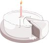 White Birthday Cake with a Candle clipart