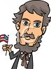 Abraham Lincoln Holding the American Flag clipart