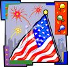 4th of July Banner of a Flag and Fireworks in a City clipart
