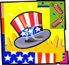 4th of July Banner of an Uncle Sam Hat and Firecrackers clipart