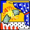 4th of July Banner Showing an Exploding Firecracker clipart