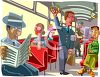 People Inside a Subway Train clipart