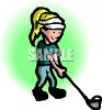 Cartoon of a Girl Playing Golf clipart