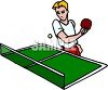 Cartoon of a Kid Playing Table Tennis clipart