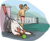Cartoon of a Guy Drinking Water After Playing Tennis clipart