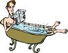 Man Reading the Paper in the Tub clipart