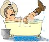 Cowboy Taking  a Bath with His Boots On clipart