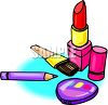 Cosmetics-Lipstick and Eyeliner with a Compact clipart