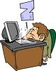 Cartoon of a Guy Sleeping at Work clipart
