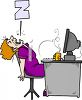 Cartoon of a Woman Asleep at Her Desk clipart