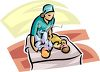 Pediatric Nurse Changing Two Babies clipart