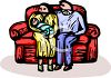 New Parents with Their Baby Sitting on a Couch clipart