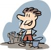 Cartoon of a Boy Building a Sandcastle clipart