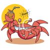Cartoon of a Drunk Crab Holding a Cocktail clipart