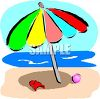 Colorful Beach Umbrella by the Ocean clipart