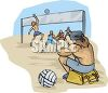 Guys Playing Volleyball at the Beach clipart