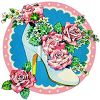 Vintage Wedding-Bride's Shoe Filled with Roses clipart