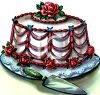 Vintage Wedding-Cake with Red Roses clipart