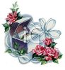 Vintage Wedding-Wedding Band in a Box with Flowers clipart