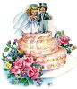 Vintage Wedding-Bride and Groom Topper on a Wedding Cake clipart