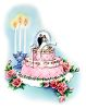 Vintage Wedding-Fancy Decorated Wedding Cake with Candles clipart