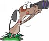Bird Dog Using Binoculars clipart