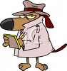 Private Eye Dog Wearing a Trench Coat clipart