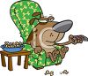 Dog Relaxing Watching TV in His Easy Chair clipart