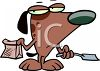 Dog Scooping His Own Poop  clipart